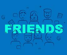 Friends Together Means Group Buddies And Friendship Piirros