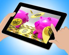 Dollar Coins On Piggybanks Shows American Usd 3d Illustration Stock Illustration