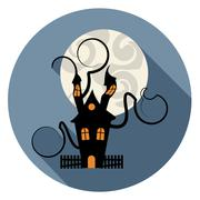 Haunted House Icon Indicates Trick Or Treat Spooky Home Piirros