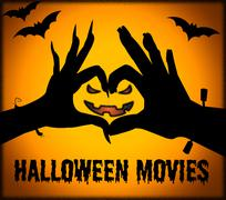 Halloween Movies Shows Horror Films And Cinema Stock Illustration