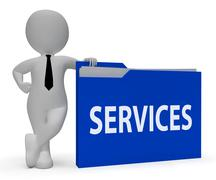 Services File Means Customer Service 3d Rendering Stock Illustration