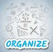 Organize Icons Indicates Management Organization And Arranging Stock Illustration