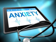 Anxiety Tablet Shows Angst Fear 3d Illustration - stock illustration