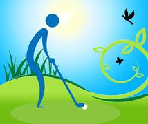 Man Teeing Off Shows Golf Course And Golfing - stock illustration