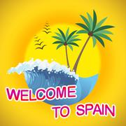 Welcome To Spain Spanish Beaches And Vacation Stock Illustration