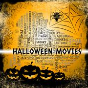 Halloween Movies Shows Horror Films And Cinemas - stock illustration