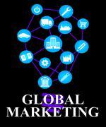 Global Marketing Represents World Ecommerce Or Worldwide Promotion Stock Illustration