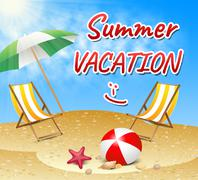 Summer Vacation Shows Vacation Season Beach Getaway - stock illustration