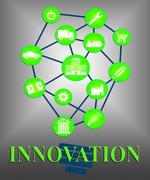 Innovation Lightbulb Shows Transformation Breakthrough And Ideas - stock illustration