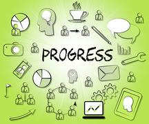 Progress Icons Show Betterment Headway And Advancement Stock Illustration