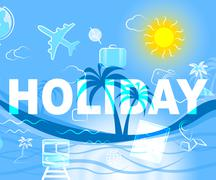 Holiday Icons Indicate Vacation Trips And Getaway - stock illustration