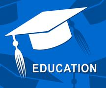 Education Mortarboard Means Graduate Learning And Studying Stock Illustration