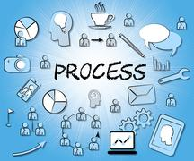 Process Icons Means Proceedure Method And Processing Stock Illustration
