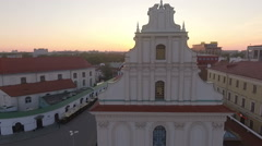 Sunset above an old european town with church Stock Footage