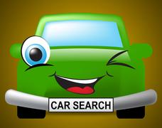 Car Search Indicates Vehicle Research And Comparison Stock Illustration