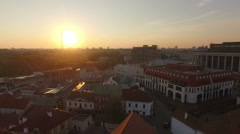 Sunset above an old european town with castles and church Stock Footage