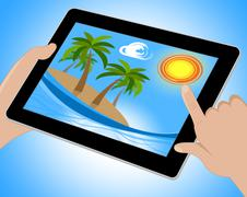 Tropical Island Tablet Shows Exotic Beach 3d Illustration Piirros
