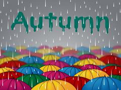 Autumn Rain Represents Fall Downpour And Showers Stock Illustration