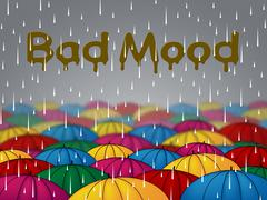 Bad Mood Shows Glum Grumpy And Angry Stock Illustration