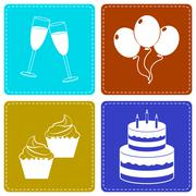 Celebrate Icons Indicate Party Joy And Fun Stock Illustration