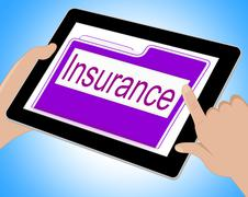 Insurance Tablet Means Policy Protection 3d Illustration Stock Illustration