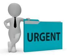 Urgent Folder Indicates Immediate Priority 3d Rendering Stock Illustration