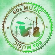 Sixties Music Represents 1960s Audio And Soundtracks Stock Illustration