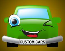 Custom Cars Means Bespoke Vehicles And Autos - stock illustration