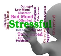 Stressful Word Means Pressure Overload 3d Rendering Stock Illustration