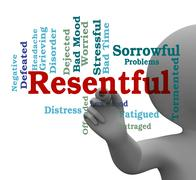 Resentful Word Means Envious And Grudging 3d Rendering Stock Illustration
