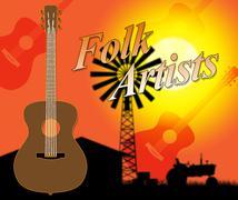 Folk Artists Indicates Country Music And Ballards Stock Illustration