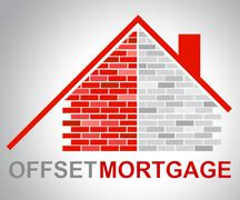 Offset Mortgage Indicates Home Loan And Offsetting - stock illustration