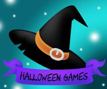 Halloween Games Means Spooky Playing And Entertainment - stock illustration