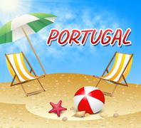 Portugal Vacations Indicates Portuguese Iberian Holiday Beach - stock illustration