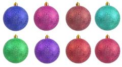 Collection of colored christmas ornament Stock Photos