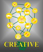 Creative Icons Means Creativity Ideas And Designs - stock illustration