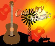 Country Music Indicates Folk Singing Or Tracks - stock illustration