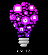 Skills Lightbulb Indicates Competence Capable And Expertise Stock Illustration