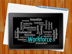 Workforce Word Shows Human Resources 3d Illustration - stock illustration