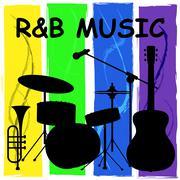 R&B Music Means Rhythm And Blues Soundtracks Stock Illustration