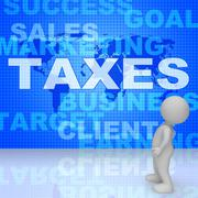 Taxes Word Shows Irs Taxation 3d Rendering Piirros