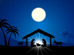 Jesus Manger Shows Birth Of Christ And Christianity - stock illustration