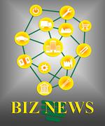 Biz News Means Commercial Journalism And Headlines Stock Illustration