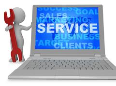 Service Word Showing Support Maintenance 3d Rendering Stock Illustration