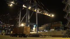 Container terminal at the night. Stock Footage