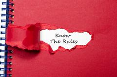 The words know the rules appearing behind torn paper Stock Photos