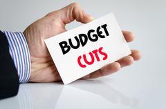 Budget cuts text concept Stock Photos