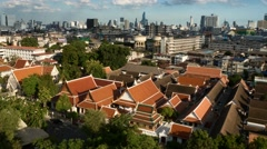 4K Panorama city view time lapse from Golden Mount temple, Bangkok, Thailand Stock Footage