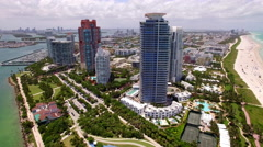 Aerial View of South Beach in Miami, Florida, United States Stock Footage