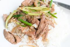 Fried Stir Pork Liver with Sweet Pepper , Thai food Stock Photos
